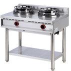 Gas wok spis med hylla, 2 brännare